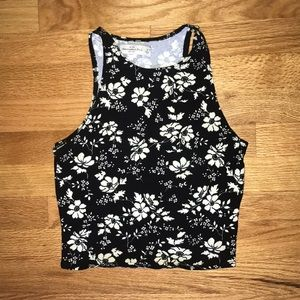 Abercrombie & Fitch High Neck Floral Crop Top